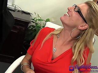 Fingering Blonde Mature Boss