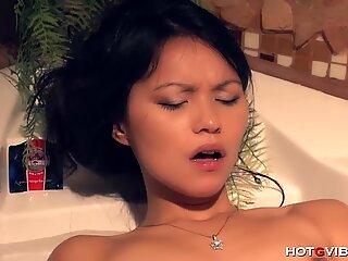 Tiny Asian Has Big Wet Orgasm