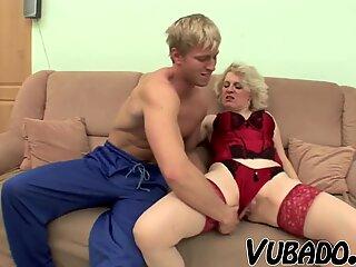 Hot guy fucking a big tits MILF!