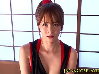 Japanese cosplay babe cockrides before facial