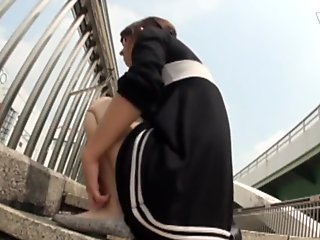 Japanese cutie urinates in public area
