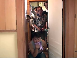 Several pervs spy and stroke on the masturbating Asian wife