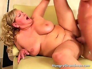 Busty Blonde Granny Doggystyle