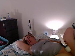 MIlf Masturbates While Watching Lesbian Porn w/ Explosive Orgasm