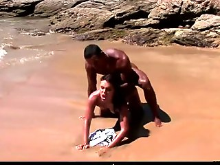 Fucking on the beach with a black dude's rock hard cock