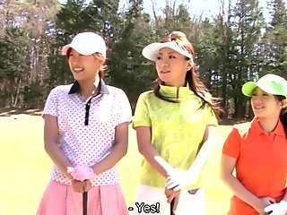Golf loving hottie Nana Kunimi and her friends get used up