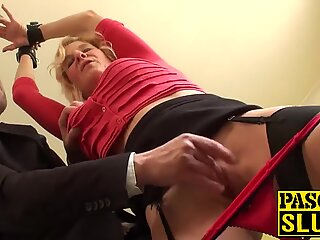 Granny gets drilled while handcuffed