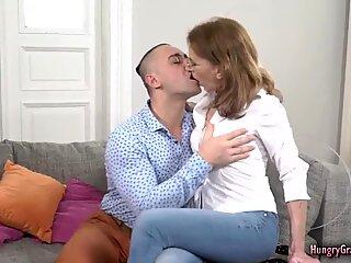 Petite granny enjoys fucking with a big cock