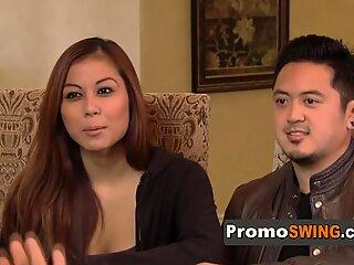Asian swingers turn on so bad in their bedroom.