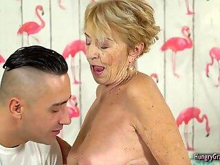 Blonde granny cant resist a big hard cock