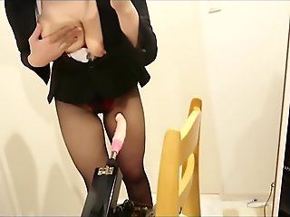 Yui Okada @dotetinyui rides cock machine in black suit and pantyhose