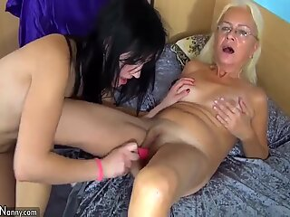 OldNanny lesbian develop fully and lesbian youngster is self pleasuring
